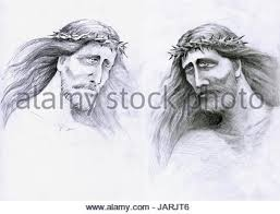 hand drawn illustration or drawing of jesus christ face at his