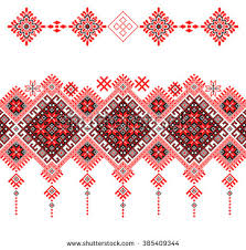 ukraine pattern vector red embroidered good like old handmade cross stitch ethnic ukraine