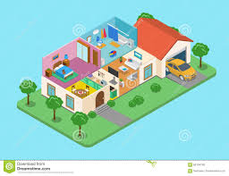 home house interior exterior room flat 3d isometric vector stock