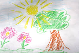 child u0027s crayon drawing of tree with sun and flowers picture free