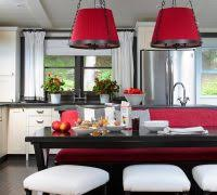 Red Ikea Kitchen - banquette de cuisine ikea kitchen beach style with dark flooring