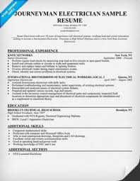Examples Of Electrician Resumes by Example Of Journeyman Electrician Resume Http Exampleresumecv