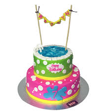2129 2 tier pool party birthday cake abc cake shop u0026 bakery
