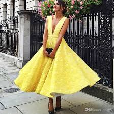 yellow dress 2017 yellow lace evening dresses with v neckline a