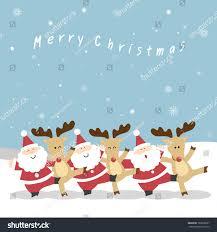 santa claus reindeers neck playfully dance stock vector 163000667