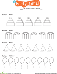 color the pattern party time worksheet education com