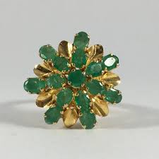 20th anniversary gift vintage emerald cluster ring 14k yellow gold setting unique