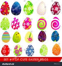 set cute easter eggs stock illustration 48535912 shutterstock