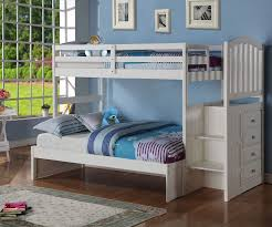 Donco Arch Twin Over Full Stair Stepper Bunk Bed White Bedroom - White bunk beds twin over full with stairs