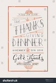 thanksgiving postcard template hand drawn thanksgiving typography invitation text stock vector