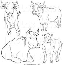 vector coloring page of a digital set of black and white cow