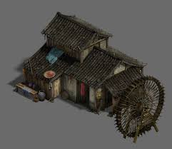 Medium Sized Houses Ordinary Town Medium Sized Houses Waterwheels 3d Model Max