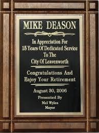 retirement plaques groove walnut plaque recognition plaques