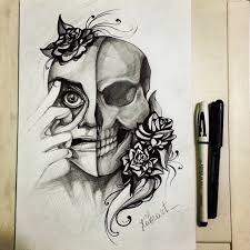 half skull and flowers drawing by kubrart on deviantart