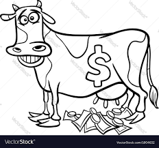 cash cow saying coloring page royalty free vector image