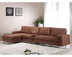 brown fabric sectional sofa w ottoman in contemporary style 44l6004