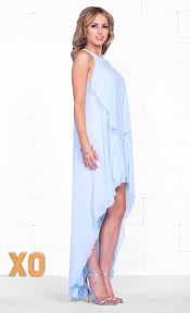 Light Blue High Low Dress Indie Xo Dream In Waves Light Blue Sleeveless Scoop Neck Ruffle
