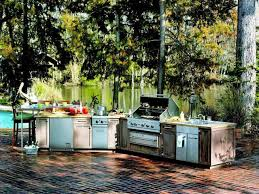 outdoor kitchen ideas for small spaces rustic floor grey cabinetry