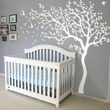 White Tree Wall Decal Nursery Tree Wall Decals Removable Nursery Mural Sticker White Tree