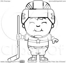 cartoon clipart of a black and white happy hockey boy vector