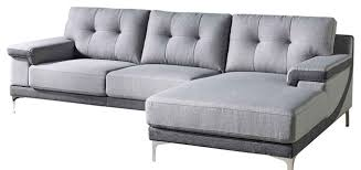modern gray fabric tufted hazel sectional contemporary
