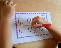 tracing alphabet letters with markers dot stickers play dough