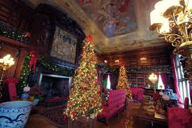 library inside biltmore house with decorations