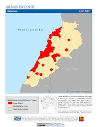 Map Of Lebanon Maps Global Rural Urban Mapping Project Grump V1 Sedac
