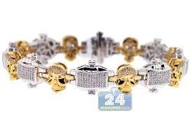 gold skull bracelet men images Mens diamond skull link bracelet 14k two tone gold 2 06 ct 8 75 quot jpg
