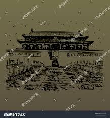 tiananmen gate tiananmen square beijing china stock vector