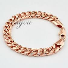 mens rose gold bracelet images Fashion jewelry mens womens smooth flat curb cuban link chain 18k jpg