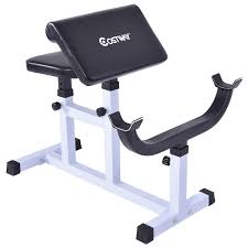 costway preacher curl weight bench seated arm isolated barbell