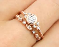 gold wedding rings sets gold engagement ring etsy