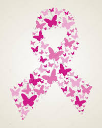 butterfly in breast cancer awareness ribbon stock vector