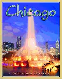 Chicago illinois buckingham fountain united states travel poster
