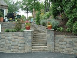 upper st clair retaining wall stone pillars steps landscaping