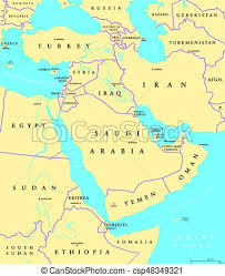 middle east map and capitals middle east political map with capitals and national vector