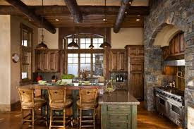 Wood Kitchen Tables by Kitchen Decoration Design Ideas Using Aged Grey Stone Kitchen Wall