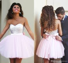 2015 short pink homecoming dresses sequined top sweetheart with