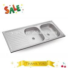 Restaurant Kitchen Design  Bowl Stainless Steel Sink With Drainer - Double drainer kitchen sink