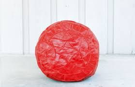 small red egyptian handmade genuine leather ottoman pouf u2014 egypsy
