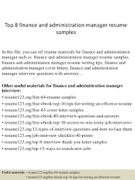 Resume Examples Finance by Top 8 Finance And Administration Manager Resume Samples 1 638 Jpg Cb U003d1428675090