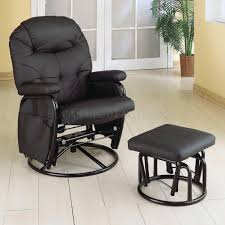 Swivel Recliner Armchair Black Letherette Modern Swivel Glider Recliner Chair W Ottoman