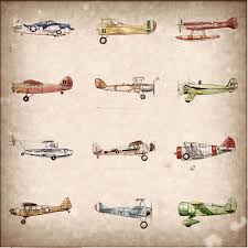 vintage airplane collection print 15x15 by flightsbynumber on etsy
