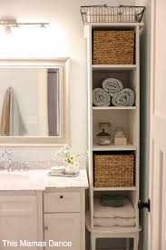 storage ideas for small bathroom white vanty cabinet cottage style this mamas minimal