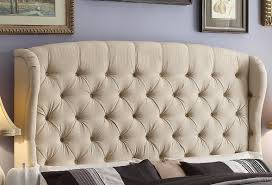 Tufted Wingback Headboard King Bed Fabric Winged Bed Wood Headboards Black Upholstered
