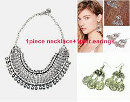 earrings with statement necklace images Vintage silver retro coin fringe bib statement necklace earrings jpg