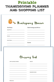 printable thanksgiving planner and shopping list the pretty bee