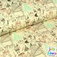 Map Fabric Organic Sweatshirt Knit Fabric Be A Little Wild Jelly Fabrics