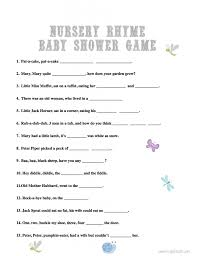 baby shower boy rhymes nursery rhymes game for baby shower blue